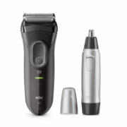 Braun Shaver + Trimmer 3000VS + EN10 Cordless, Charging time 1 h, Operating time 45 min, Nose trimmer included, Accumulator, Black/Silver  57,00