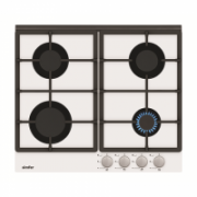 Simfer Hob H6.401.HGSBB Gas on glass, Number of burners/cooking zones 4, Rotary painted inox knobs, White  175,00