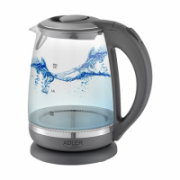 Adler Kettle AD 1286 Standard, 2200 W, 2 L, Plastic/ glass, Grey/ transparent, 360° rotational base  16,00