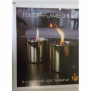 SALE OUT. TenderFlame Lilly 8 cm, 0,5 L, Gold (2 pack) Tenderflame Gift Set, 2 Tabletop burners + 0,5 L fuel,  Lilly 8 cm Gold, DAMAGED PACKAGING  19,00