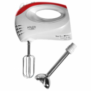 Hand Mixer Adler AD 4212 White, Hand Mixer, 300 W, Number of speeds 5, Shaft material Stainless steel  17,00