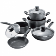 Stoneline 1 sauce pan, 1 stewing pan, 1 frying pan, die-cast aluminium, black,  159,99