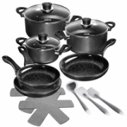Stoneline Ceramic Cookware Set 15710 3 pans, Black  180,00