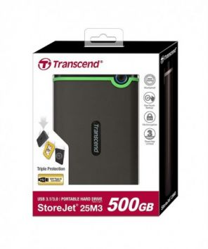 Transcend External HDD 500GB 25M3G 2.5'' USB3, Iron Gray, Slim
