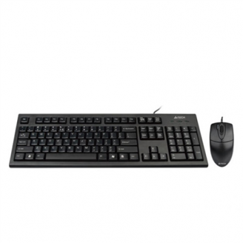 A4Tech Combo Mouse and Keyboard KR-85550 Wired, USB, Keyboard layout US, USB, Black, No, Wireless connection No, Mouse included, EN, Numeric keypad