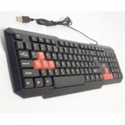 Super power Keyboard KB-2020 with silk printing and red caps standard, wired, Keyboard layout EN/RU, black, USB  5,00