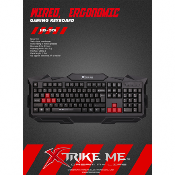 XTRIKE ME KB301 gaming keyboard, EN/RU