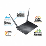 Asus Router RT-N12 D1 802.11n, 300 Mbit/s, 10/100 Mbit/s, Ethernet LAN (RJ-45) ports 4, Antenna type 2xDetachable, Repeater/AP Mode, IPTV support, Plug-n-Play, ASUSWRT graphic interface, EZ QoS, IPv6, DDWRT opensource support  27,00