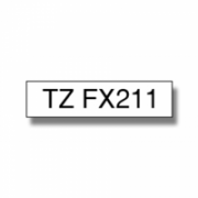 Brother TZe-FX211 Flexible ID Laminated Tape Black on White, TZe, 0.6 cm, 8 m  13,00