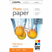 ColorWay A4, High Glossy Photo Paper, 50 Sheets, A4, 180 g/m²  9,00
