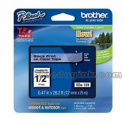 Brother TZe-131 Laminated Tape Black on Clear, TZe, 8 m, 1.2 cm  14,00