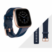 Fitbit Versa 2 (NFC) Smartwatch, Navy & Pink Woven Band/Copper Rose Aluminum Case  229,95