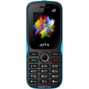 "JOYS S3 (Black/Blue) Dual Sim 1.44"" 128x160 32 MB RAM/Camera 0.08Mpx, 2G,BT 2.1, FM, 600mAh LT/LV/ENG/RU Joy's"