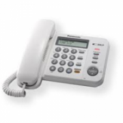 Panasonic KX-TS520FXW, Corded phone, White /  Standard phone with 3-line display, CLIP function, Phone list 50 names and number/ 20 last number memory / MUTE, FLASH, HOLD functions, Wall-mountable  Panasonic  18,00