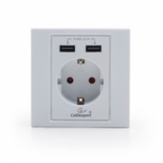 Gembird MWS-ACUSB2-01 AC wall socket with 2 port USB charger, White  12,00